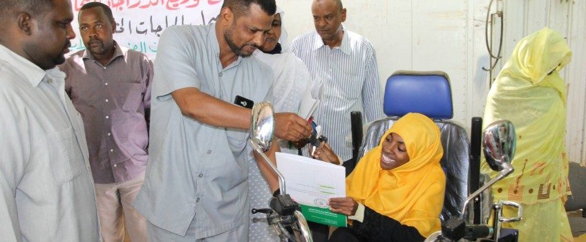 Students Care Fund at Gezira State Delivered Three Disabled Students a Motorcycles